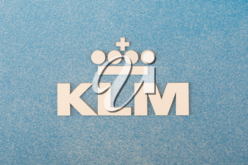 LELYSTAD, THE NETHERLANDS - JUNE 9; Logo of the dutch KLM, royal dutch airlines company founded in 1919.