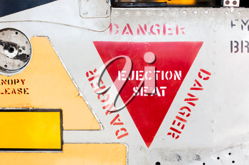 Close-up of an vintage war airplane (jet)