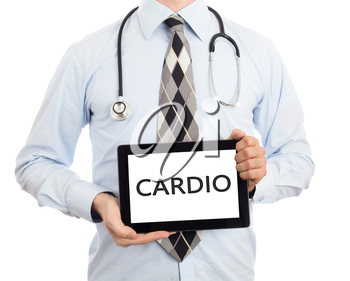 Doctor, isolated on white backgroun,  holding digital tablet - Cardio