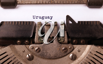 Inscription made by vintage typewriter, country, Uruguay