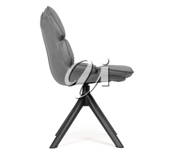 Modern chair made from suede and metal, isolated on white - Grey