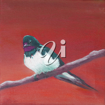 Painting, adult swallow sitting on a branch, red