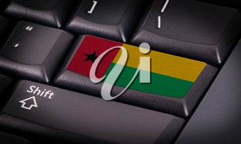 Flag on button keyboard, flag of Guinea-Bissau