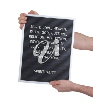 Spirituality concept in plastic letters on very old menu board, vintage look