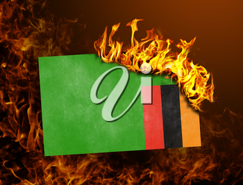 Flag burning - concept of war or crisis - Zambia