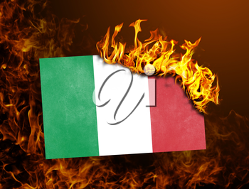 Flag burning - concept of war or crisis - Italy
