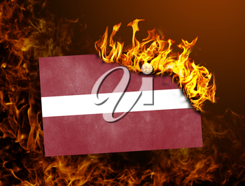 Flag burning - concept of war or crisis - Latvia