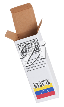 Concept of export, opened paper box - Product of Venezuela