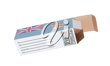 Concept of export, opened paper box - Product of Fiji