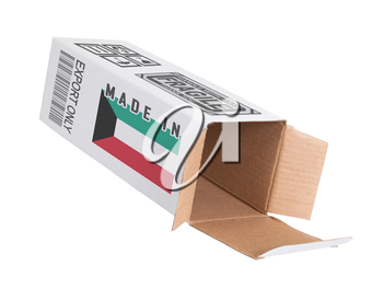 Concept of export, opened paper box - Product of Kuwait