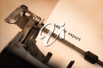 Vintage inscription made by old typewriter, ask an expert