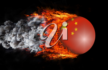 Concept of speed - Flag with a trail of fire and smoke - China
