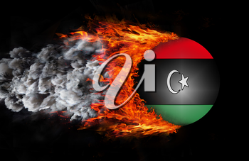 Concept of speed - Flag with a trail of fire and smoke - Libya