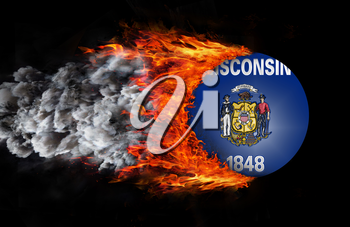 Concept of speed - Flag with a trail of fire and smoke - Wisconsin