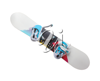 Old snowboard isolated on a white backrgound