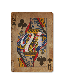 Very old playing card isolated on a white background, Queen of clubs