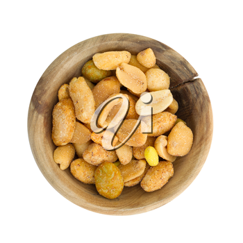 Fresh mixed salted nuts in a bowl, peanut mix, isolated on white