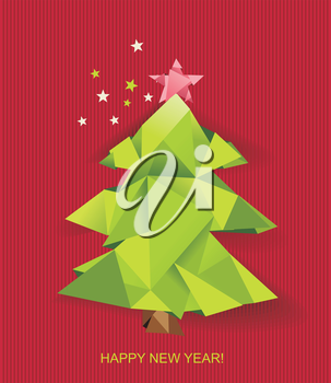 Christmas tree folded of green paper. Design element for holiday cards.Vector illustration.