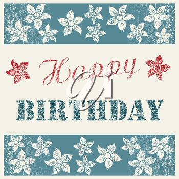 Happy Birthday Card with floral composition on natural clean denim texture, blue jeans background with flowers