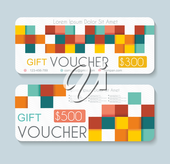Gift voucher template with retro geometric pattern