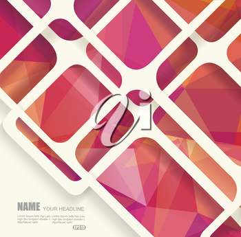 Abstract geometric background with polygonal geometry under the cobweb from threads.