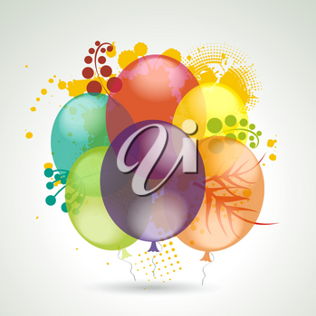 3d Vector Realistic Balloons Flying with Plants for Party and Celebrations.
