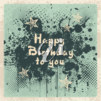 Happy Birthday Card, vintage design.Can use as a new, clean background, able grunge effects  easily removed.