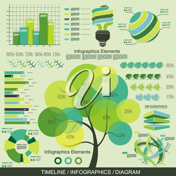 Eco Infographics Template. Set of graphic design elements, vector.