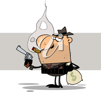 Clipart Illustration of A Smoking Mafia Man Holding a Pistol and Bag of Money