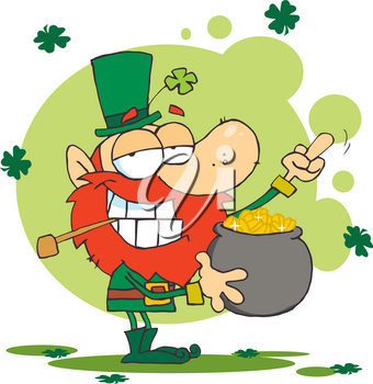 Clipart Image of A Smiling Irish Man With a Pot of Gold and Shamrocks