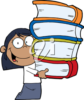 Clipart Image of A Smiling Black Girl With a Stack of Books