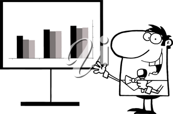 Clipart Image of Black and White Man Talking Into a Microphone and Pointing To a Graph