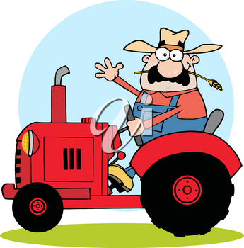 Clipart Image of A Farmer Riding on a Red Tractor