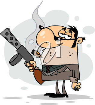 Clipart Image of A Mobster Holding a Tommy Gun and Smoking a Cigar