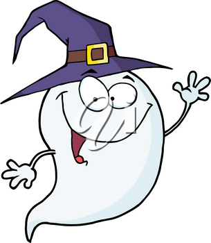 Clipart Image of A Smiling Cartoon Ghost Wearing a Witch's Hat