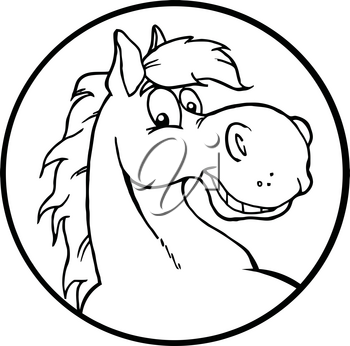Clipart Image of Black and White Horse Icon