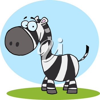 Clipart Image of A Cartoon Zebra Standing on a Patch of Grass