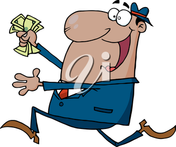 Clipart Image of A Cartoon Businesman Running With a Bunch of Bills In His Fist
