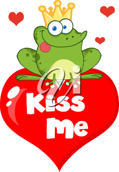 "Clipart Illustration of A Cute Cartoon Frog Prince on Top of a Valentine Heart Saying ""kiss Me"""