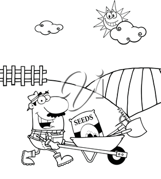 Clipart Image of Coloring Page of a Farmer on His Farm Pushing a Wheelbarrow of Gardening Tools