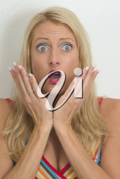 Stock Photo of a Surprised Or Scared Woman