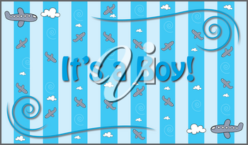 Clip Art Image of a Baby Boy Graphic With Planes