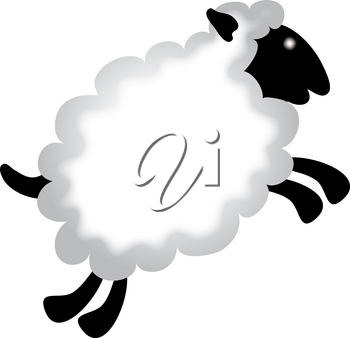 Clip Art Image of a Cartoon Sheep Leaping