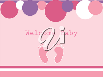 Clip Art Image of a Pink Baby Graphic With Baby Footrpints