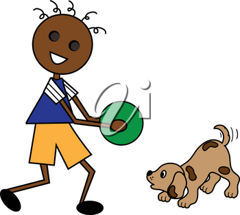 Clip Art Image of a Cartoon African American Boy Playing With His Puppy