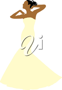 Clip Art Image of a Spring Bride in a Strapless Gown