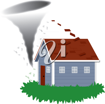 Clip Art Image of  a Tornado Tearing the Roof Off a House