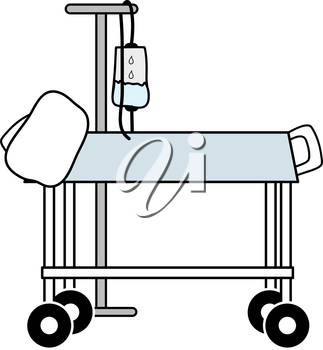 Clip Art Image of a Hospital Bed With an IV