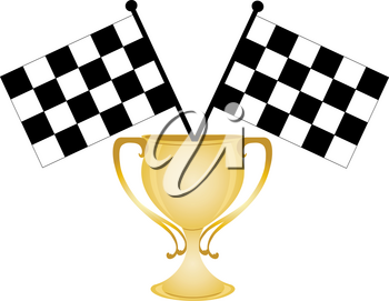 Clip Art Image of a Gold Cup Trophy With Checkered Flags