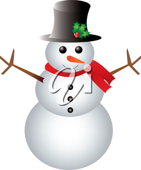 Clip Art Image of a Happy Snowman Wearing a Scarf and Hat